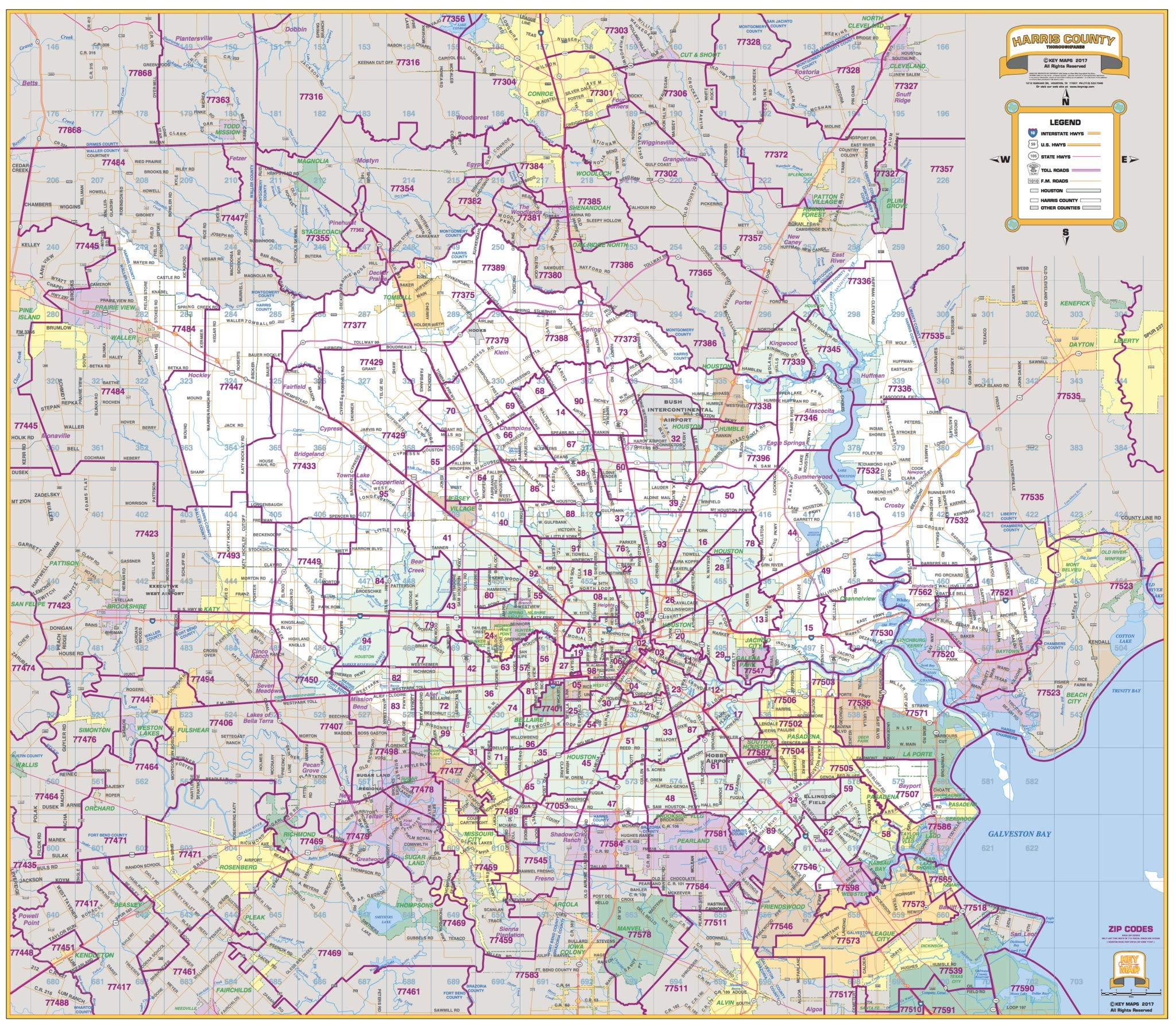Harris County Zip Code Map Harris County Thoroughfares 46