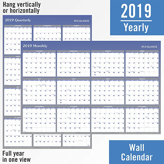 amazoncom at a glance 2019 yearly wall calendar 48 x 32 jumbo erasable dry erase reversible verticalhorizontal blue a1152 office products