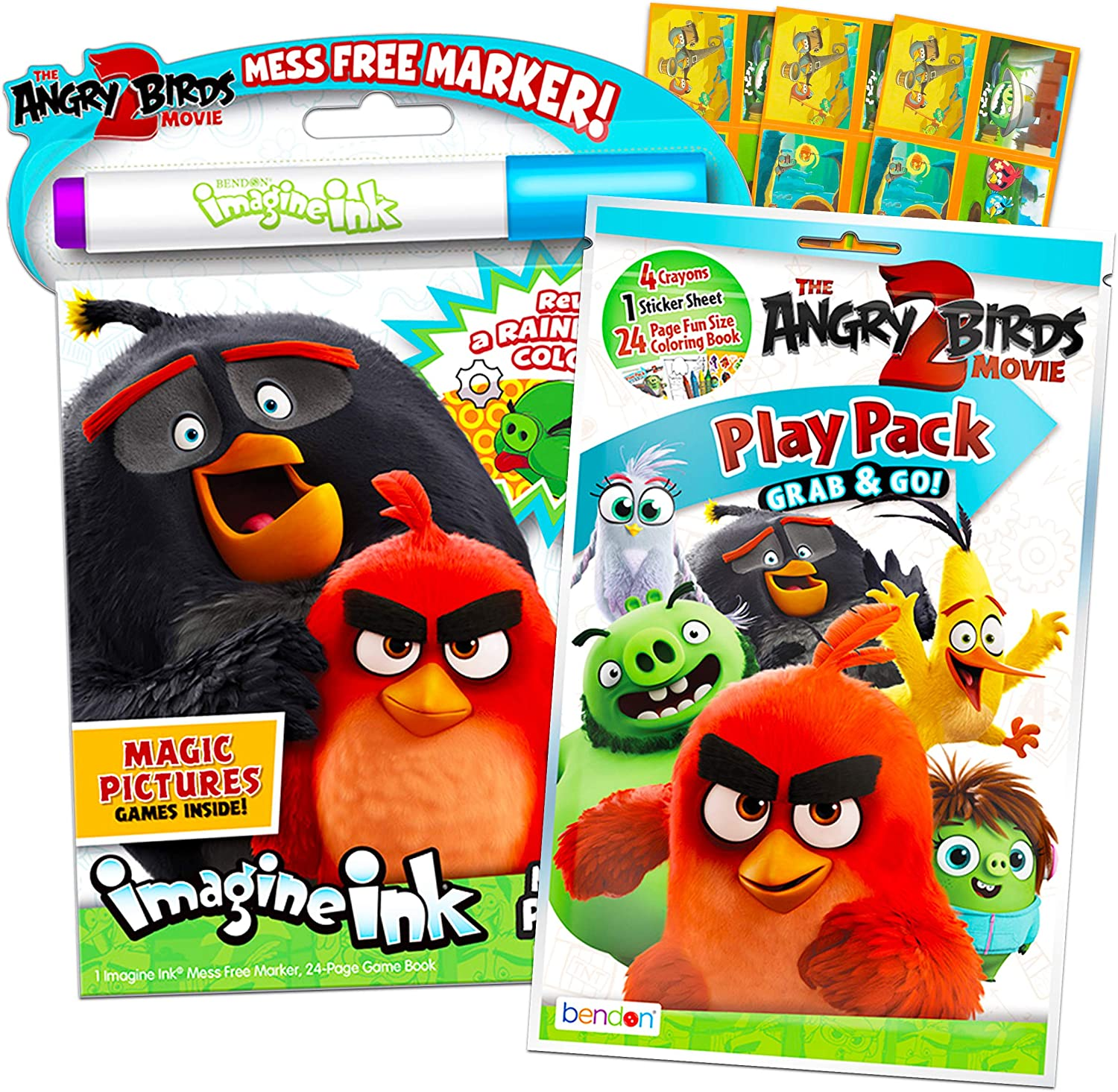 Amazon Com Angry Birds Coloring And Activity Set Bundle Angry Birds Mess Free Coloring Book With Magic Pen And Mini Angry Birds Coloring Book Play Pack With Crayons And Stickers Angry Birds Party