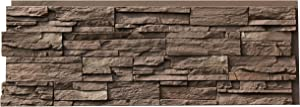 NextStone Polyurethane Faux Stone Panel - Country Ledgestone - Himalayan Brown (4 Panels per Box)