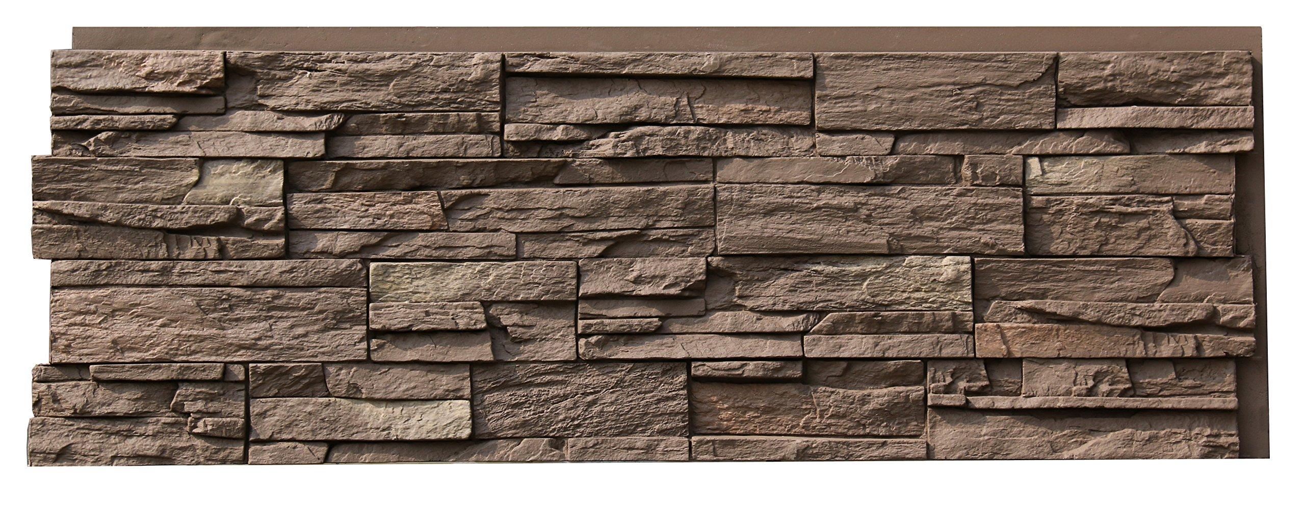 NextStone Country Ledgestone Faux Polyurethane Stone Panel - Himalayan Brown - 4 Pack