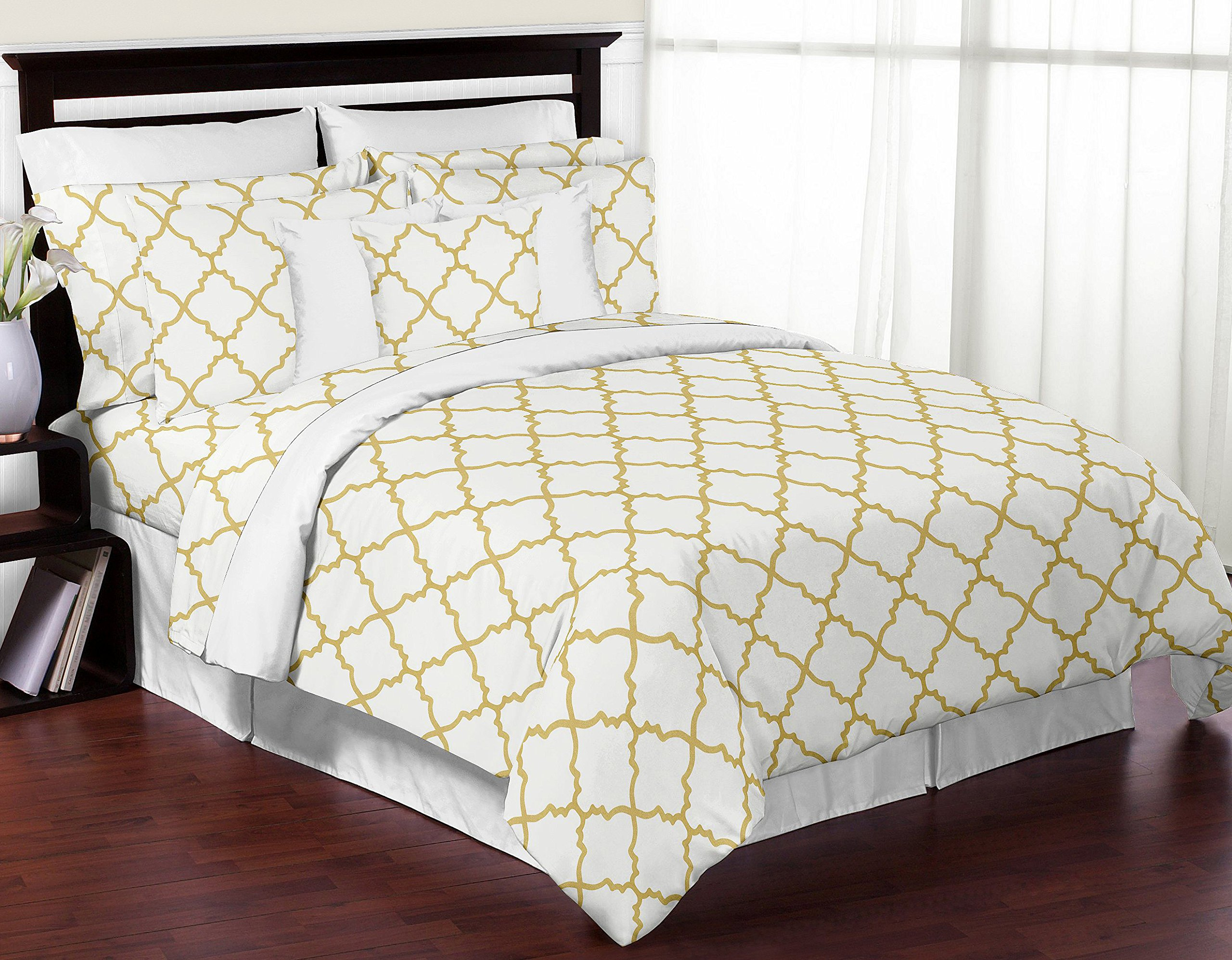 Sweet Jojo Designs 3-Piece Modern White and Gold Trellis Lattice Girls Full / Queen Bedding Set Collection