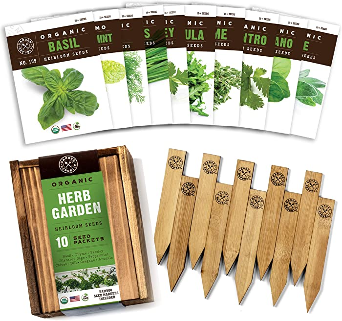 Herb Garden Seeds for Planting - 10 Culinary Herb Seed Packets Kit, USDA Certified Organic Seeds Non GMO Heirloom, Plant Markers, Wood Gift Box, 20 Recipe Herbs eBook - Gardening Gifts for Gardeners