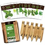 Herb Garden Seeds for Planting - 10 Culinary Herb Seed Packets Kit, Non GMO Heirloom Seeds, Plant Markers, Wood Gift Box - Ho