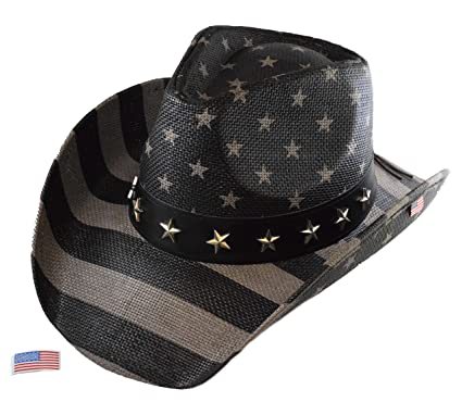 Saddleback Hats Bundle Authentic Vintage USA American Flag Cowboy Hat  w Shapeable Brim and Embroidered Iron On Flag Patch (Subdued Flag) at  Amazon Men s ... 4c5fa99e2