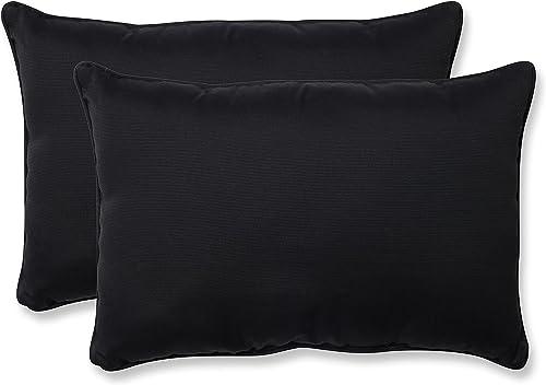 Pillow Perfect Outdoor Indoor Fresco Oversized Lumbar Pillows, 24.5 x 16.5 , Black