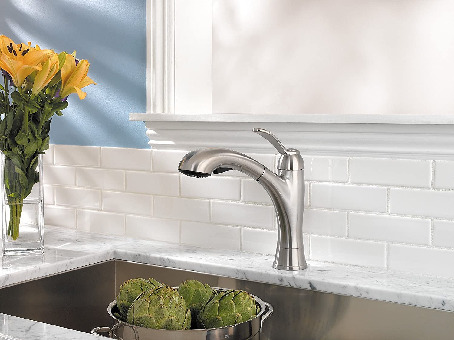 Elegant Pfister F5347CMS Clairmont 1 Handle Pull Out Kitchen Faucet, Stainless Steel,  2.2 Gpm   Touch On Kitchen Sink Faucets   Amazon.com