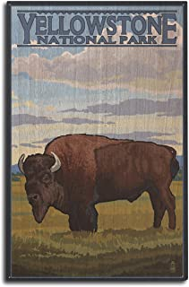 product image for Lantern Press Yellowstone National Park, Wyoming - Bison Scene (10x15 Wood Wall Sign, Wall Decor Ready to Hang)