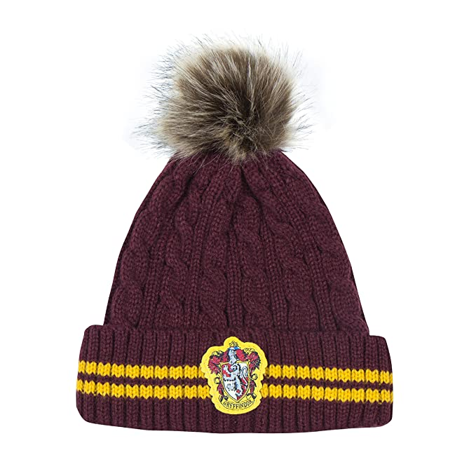 cb3f5b96740 Cinereplicas Harry Potter Beanie Hat Knit Cap - Official (Pompom Gryffindor)