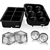 glacio Ice Cube Trays Silicone Combo Mold - Set of 2, Sphere Ice Ball Maker with Lid & Large Square Molds, Reusable and…