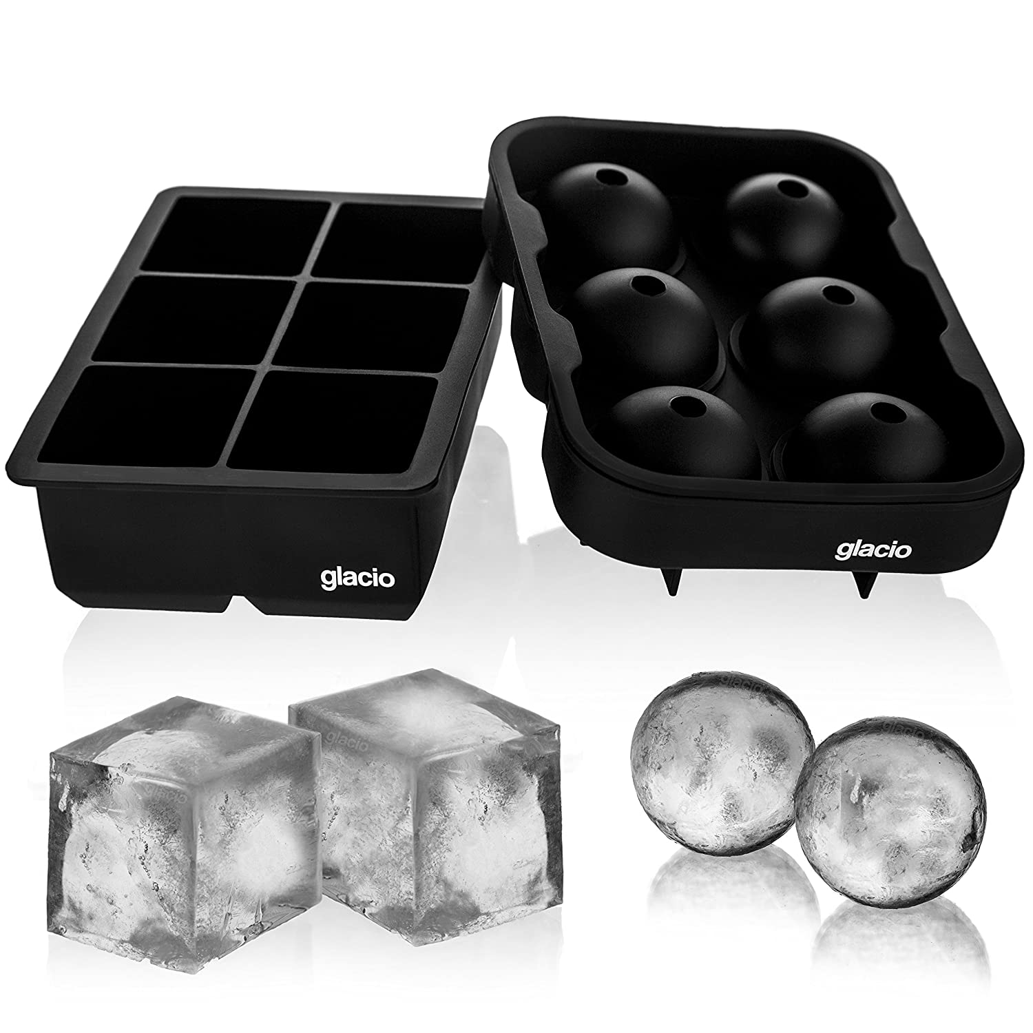 glacio Ice Cube Trays Silicone Combo Mold - Set of 2, Sphere Ice Ball Maker with Lid & Large Square Molds, Reusable and BPA Free