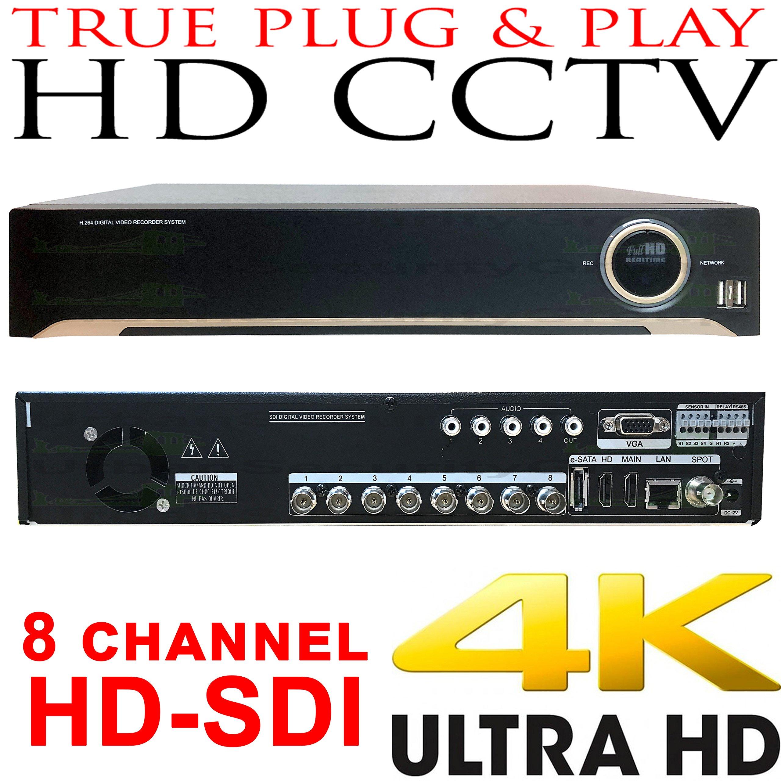 USG Business Grade 4MP 8 Channel HD-SDI Security DVR + 4TB HDD : Up To 4MP Video Resolution, 8x BNC HD Video-In, 2x SATA, USB, 2x HDMI + VGA + Spot BNC, RCA Audio, RS232C, Alarm : Free Phone App by Urban Security Group (Image #1)
