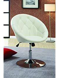 Coaster Home Furnishings Contemporary Height Adjustable Round Back Tufted  Swivel Accent Chair   White Faux Leather Part 38