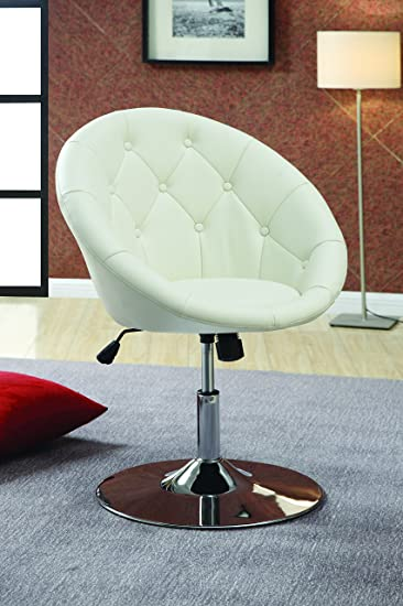 Coaster Home Furnishings Contemporary Height Adjustable Round Back Tufted  Swivel Accent Chair   White Faux Leather