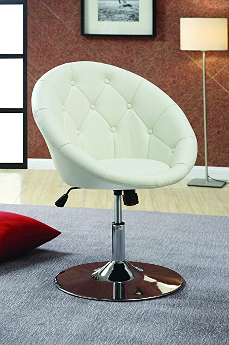 Coaster Contemporary Swivel Accent Chair With Faux Leather Upholstered Seat  And Button Tufting Back, White