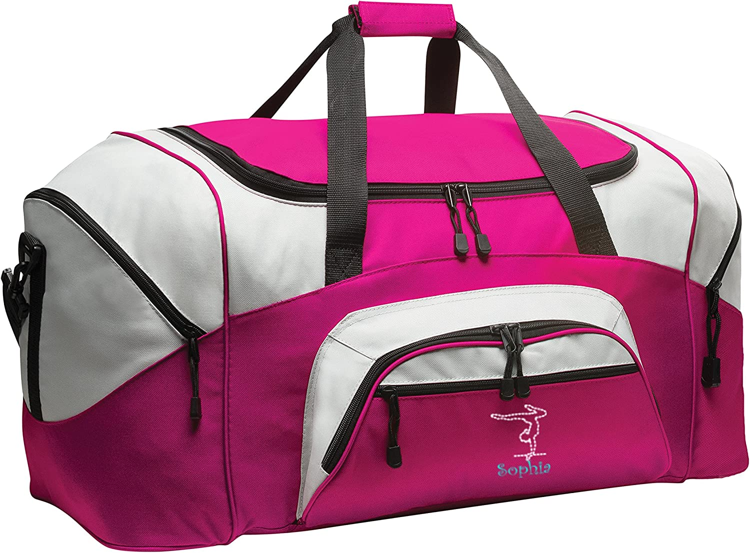 Personalized Gymnastics Gym Duffel Bag with Custom Text Large Sports Bag with Customizable Embroidered Monogram Design Tropical Pink Grey