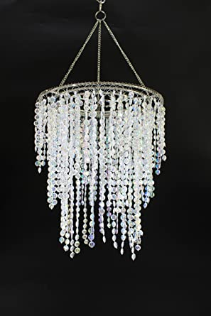 Wedding chandeliers lamp shade centerpiece acrylic beads iridescent wedding chandeliers lamp shade centerpiece acrylic beads iridescent with chrome frame drop 126 inches aloadofball Images