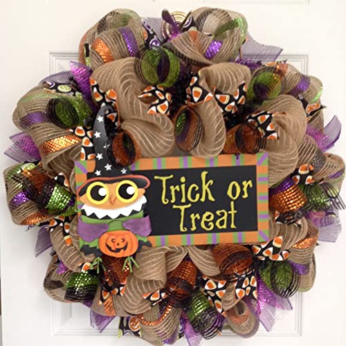 Trick or Treat Halloween Owl Wreath