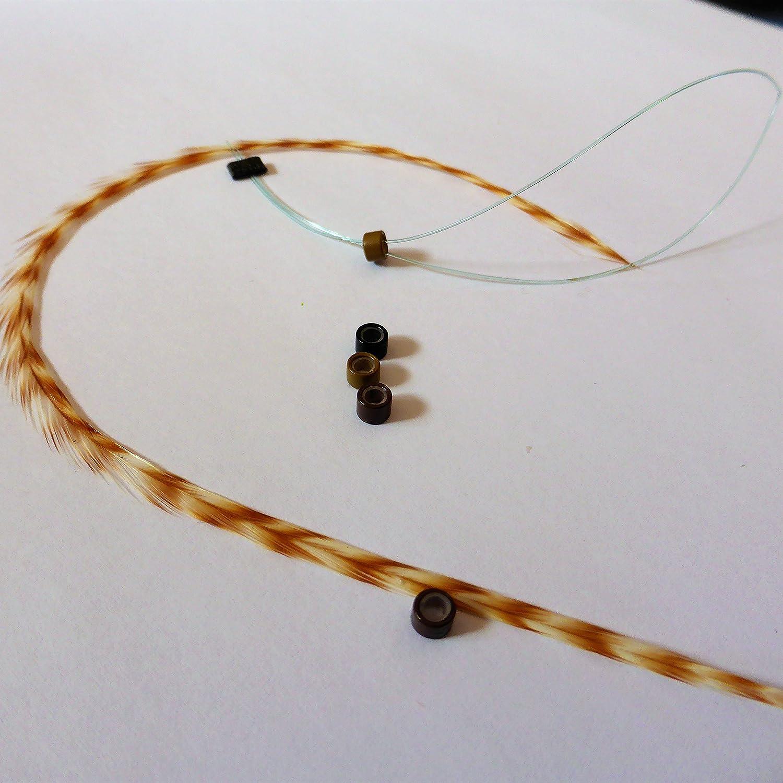 Extension plume naturelle rayé e grizzly ginger rouquine ! Taille au choix L XL XXL , perle et passe mè che offert perle et passe mèche offert