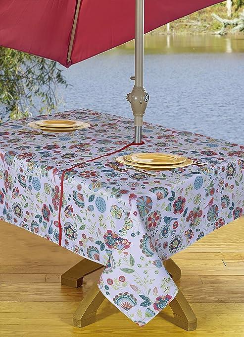 Attirant Amazon.com : Table Cloth Outdoor Tablecloth Umbrella Tablecloth With Hole U0026  Zipper 54 X 72 Inch Floral : Garden U0026 Outdoor