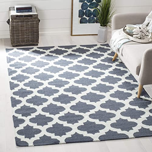 Safavieh Dhurries Collection DHU623B Hand Woven Blue and Ivory Premium Wool Square Area Rug 7 Square