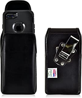 product image for Turtleback Belt Case for iPhone 8 with OB Defender or iPhone 7 with OB Defender Black Vertical Holster Leather Pouch with Heavy Duty Rotating Ratcheting Belt Clip Made in USA
