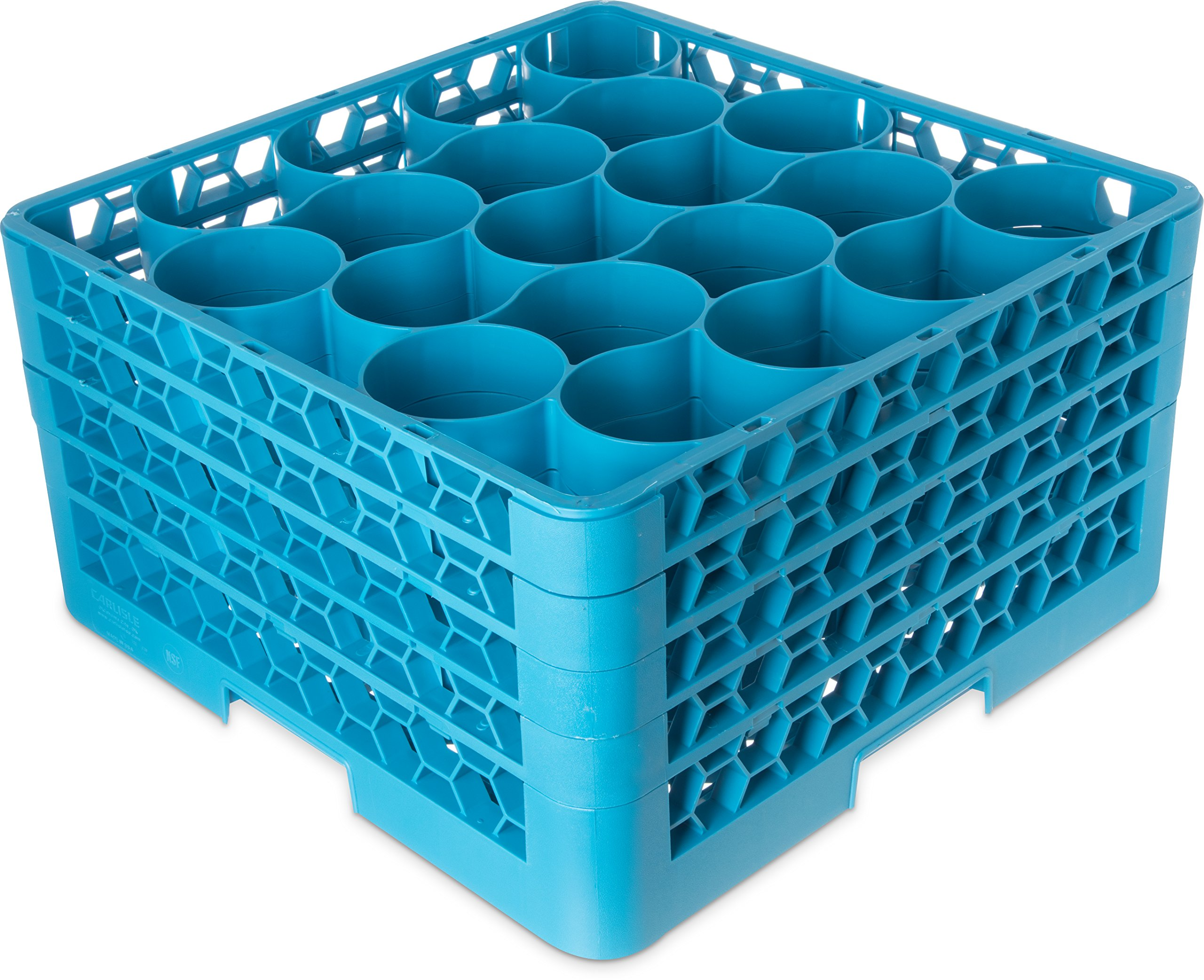 Carlisle RW20-314 OptiClean NeWave Polypropylene 20-Compartment Glass Rack with 4 Extenders, 19-3/4'' Length x 19-3/4'' Width x 10.30'' Height, Blue (Case of 2)
