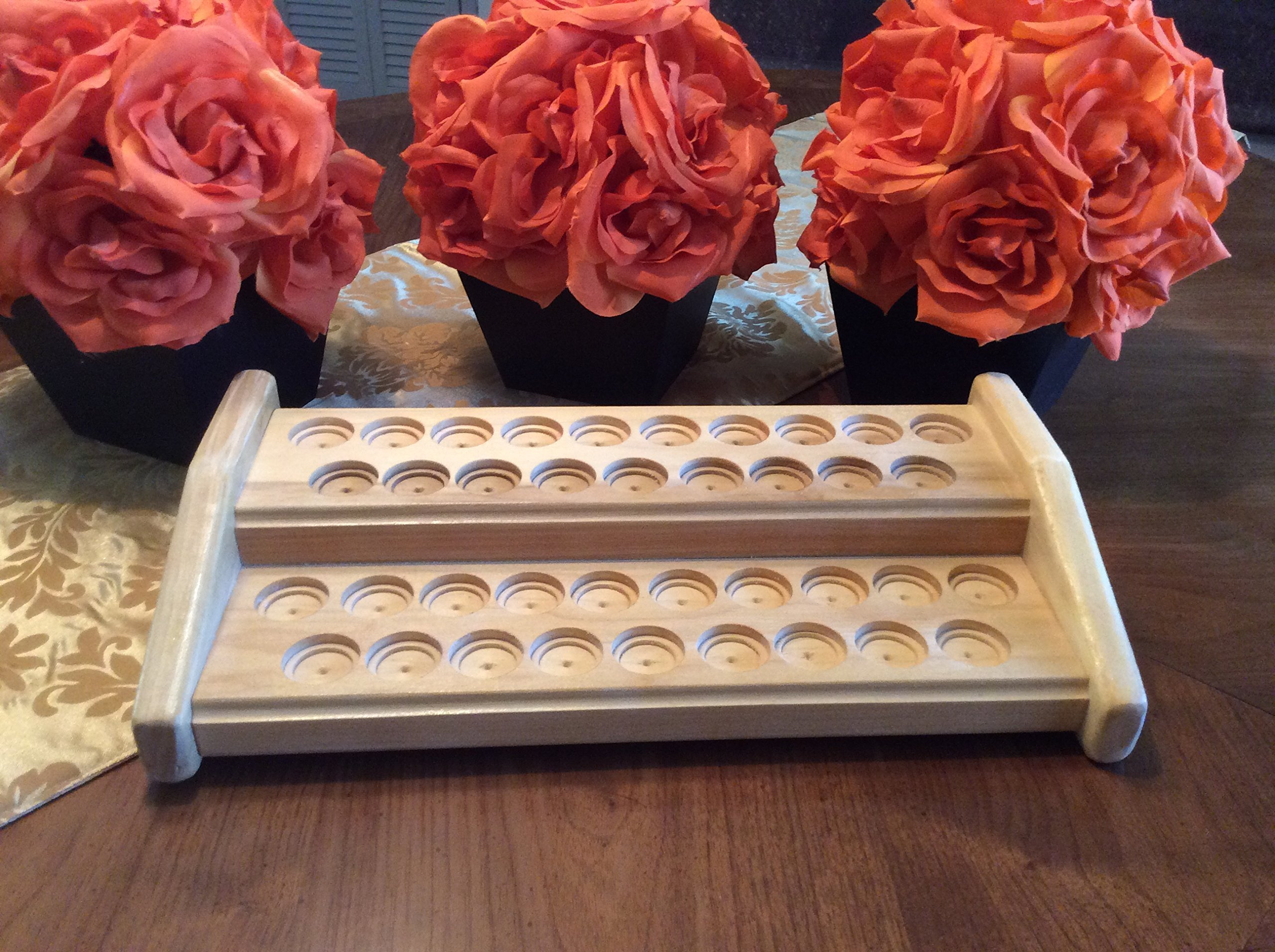 Essential oil rack / bottle holder, wood oils organizer, storage stand for 38 EO bottles, 5ml or 15ml oils display, 4 colors available!