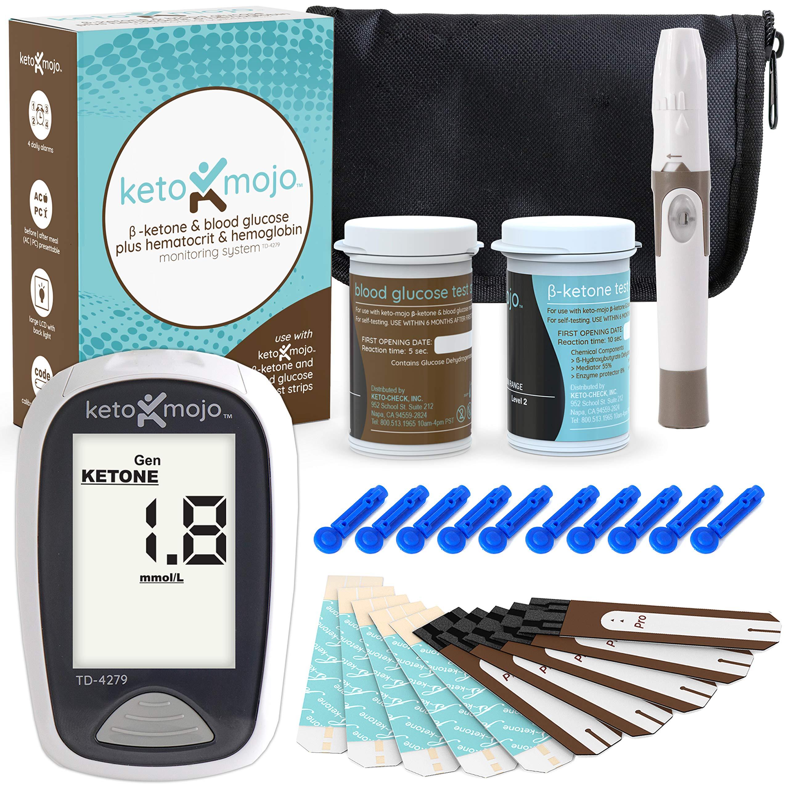 KETO-MOJO Blood Ketone and Glucose Testing Kit, 1 Meter, 10 Ketone & 10 Glucose Test Strips,1 Lancing Device, 10 Lancets, Monitor Your Ketogenic Diet by KETO MOJO