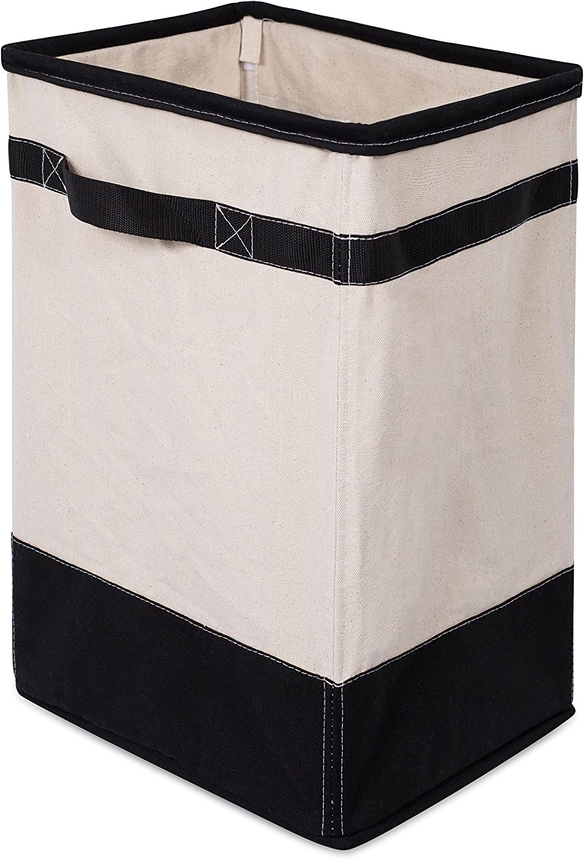 BIRDROCK HOME Canvas Hamper - Single Laundry Basket with Handles - Foldable Hamper - Easily Transport Laundry