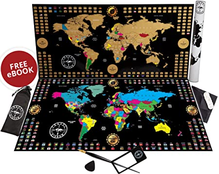 New Scratch Off Map of The World Poster Larger 34.5×17 Premium Travel Map with Gold Foil Outlined United States in Vibrant Colors Best Gift for Travelers and Kids Full Tools Set Included