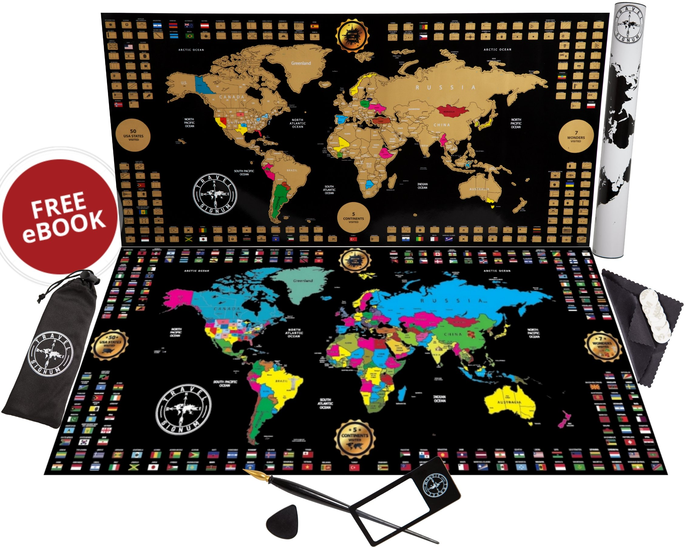 """Premium New Scratch Off Map of The World Poster – Larger 34.5"""" x 17"""" Travel Map with Gold Foil – Outlined United States in Vibrant Colors – Best Gift for Travelers – Full Tools Set Included by Travel Signum"""