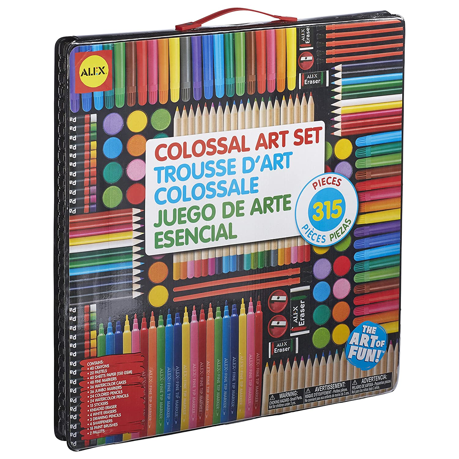 colossal art set 315 pc kids artist deluxe kit drawing coloring supplies toy new ebay. Black Bedroom Furniture Sets. Home Design Ideas