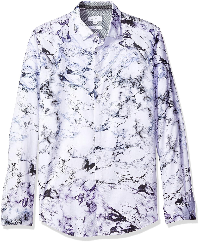 Calvin Klein Hombre #N/A Manga Larga Camisa con Botones - Morado ...