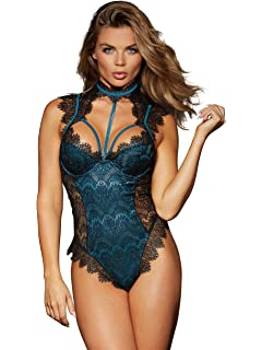 5f789bc7b Amazon.com  Dreamgirl Women s Lace Chemise and G-String with ...
