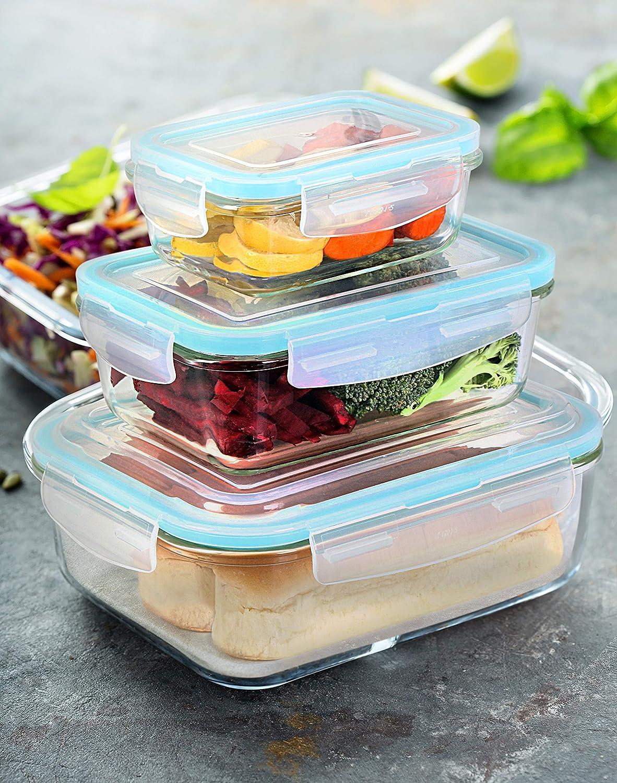 Tapas Transparentes 12 Piezas para la Cocina o el Restaurante de Uso Dom/éstico Kitchen UTOPIA Recipiente Contenedor de Almacenamiento de Alimentos de Vidrio 6 envases + 6 Tapas Sin BPA