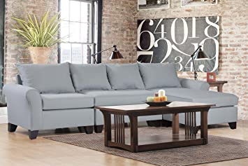 carolina accents belle meade 3piece sectional sofas light slate - 3 Piece Sectional Sofa