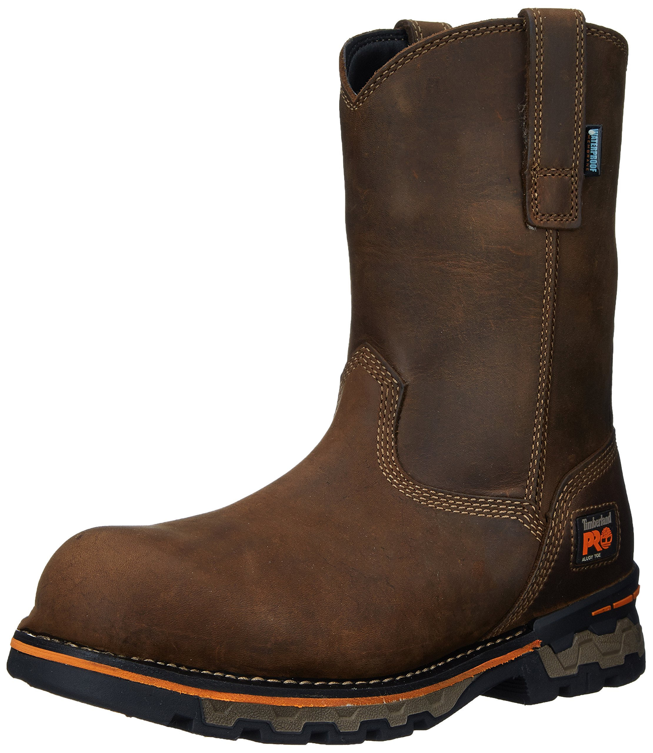 Timberland PRO Men's AG Boss Pull-On Alloy Toe Waterproof Work and Hunt Boot, Brown Distressed Leather, 11.5 M US