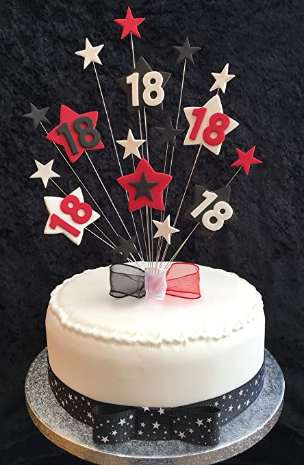 18th Birthday Cake Topper Red Black And White Stars PLUS 1 X Metre 25mm With Grosgrain Ribbon Ready Made Attached Bow Amazoncouk
