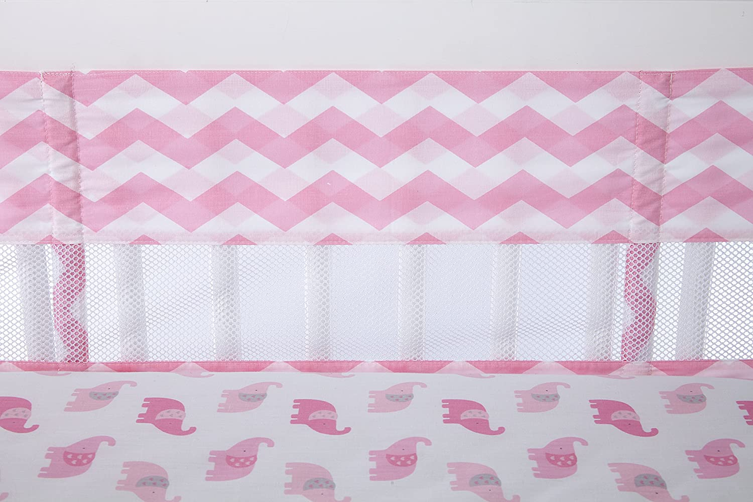 Little Love by NoJo Separates Collection Chevron Print Crib Liner, Pink/White Crown Craft Infant Products 6601780