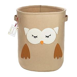 Owl Fabric Small Soft Basket – Woodland Baskets for Kids - Toy Buckets for Kids Storage - Boys Room Decor - Kids Hamper - Woodland Nursery Decor - New Baby Gift - Dog Toy Bin