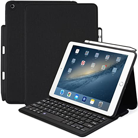 new style 03dda 7bb0b KHOMO Compatible with Apple iPad 9.7 Inch (2017 & 2018) Bluetooth Keyboard  Case with Pen Holder