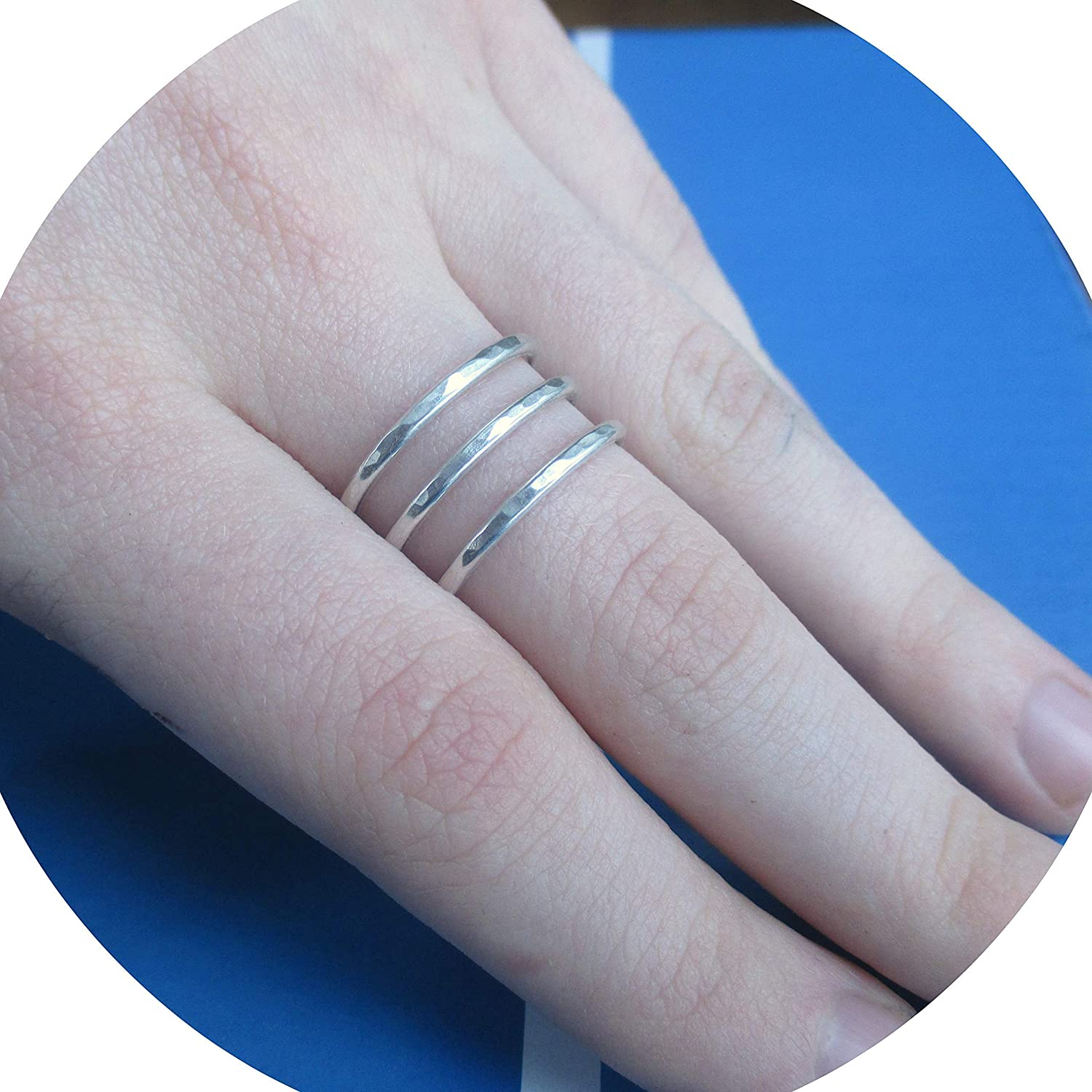 Sterling Silver Hammered Wraparound Ring Triple Band