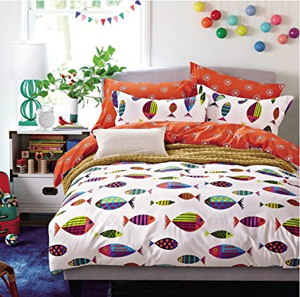 Amazon.com: Cliab Colorful Ocean Fish Bedding Full Bed Sheets 100 ...