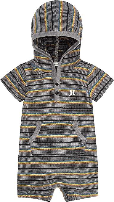 New HURLEY 12 months one piece short sleeve romper boys bodysuit aqua hoodie