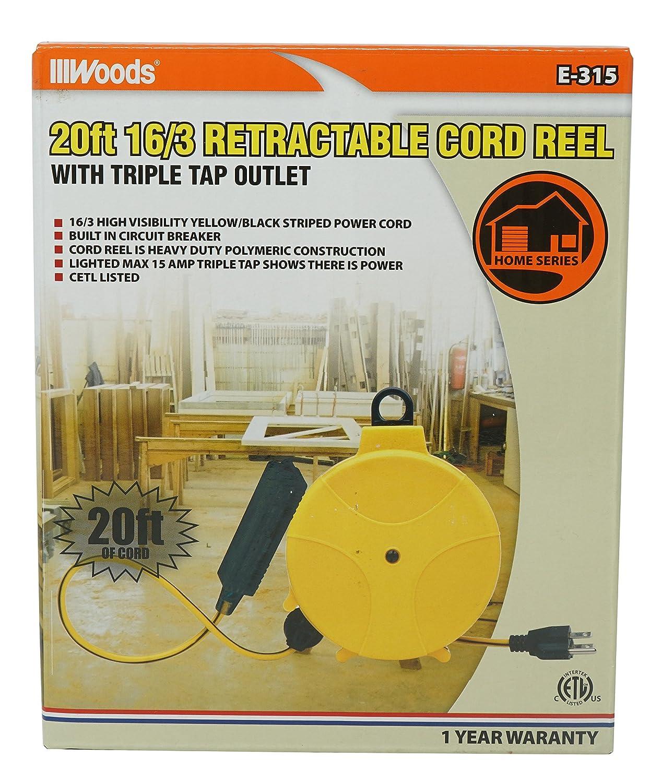 Designers Edge E315 20 Foot Yellow Retractable Extension Cord Reel W Circuit Breaker