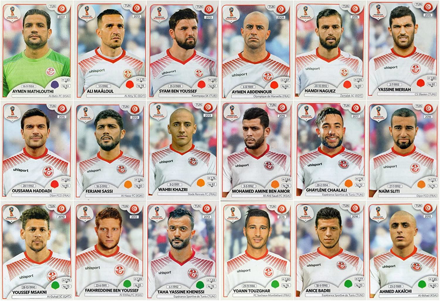 e7b7b21ed00 PANINI WORLD CUP 2018 STICKERS - 18 TUNISIA STICKERS - TEAM SET - PLAYERS  ONLY #554 - #571: Amazon.co.uk: Sports & Outdoors