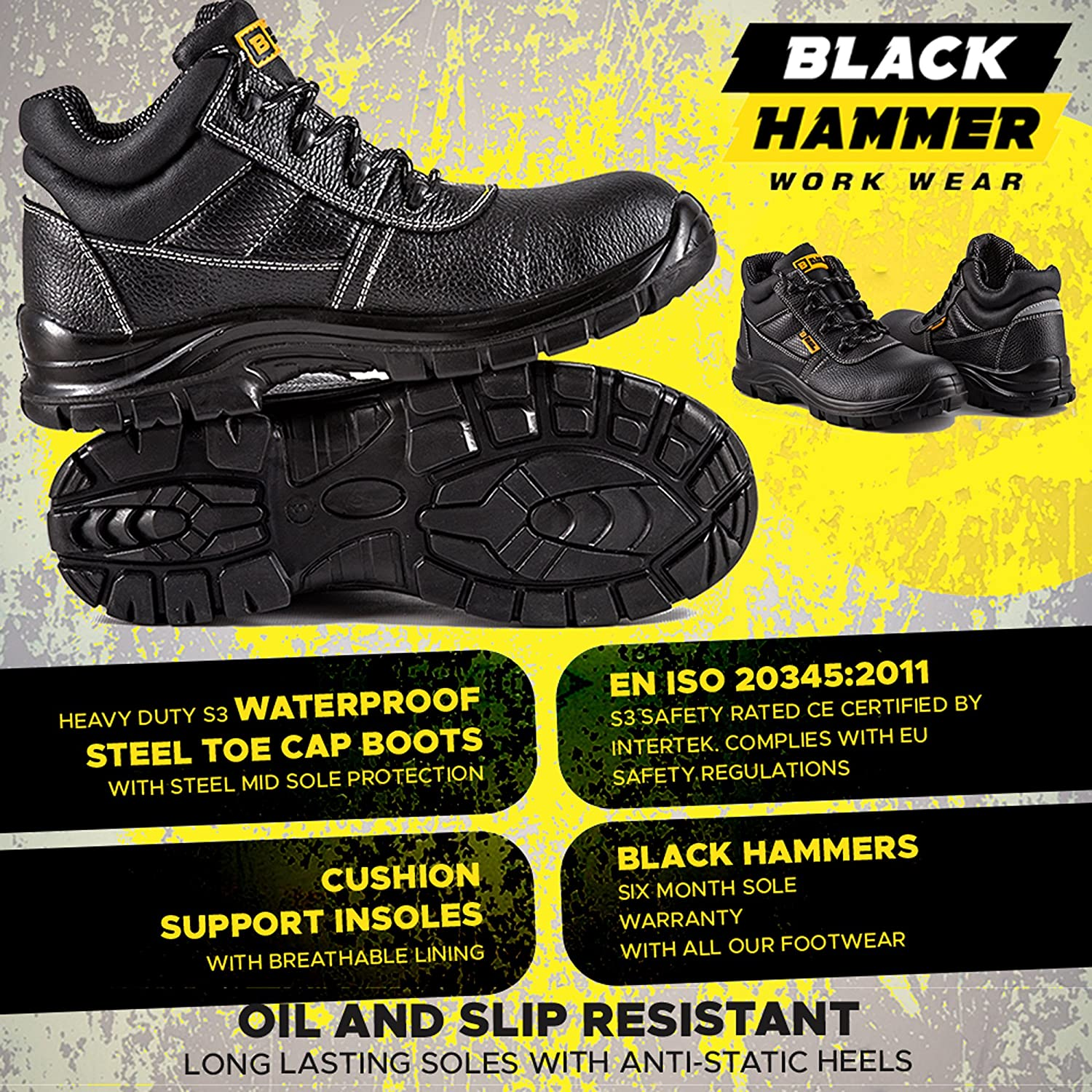 Amazon.com | Black Hammer Mens Leather Safety Waterproof Boots S3 SRC Steel Toe Cap Work Shoes Ankle Leather 1007 | Motorcycle & Combat