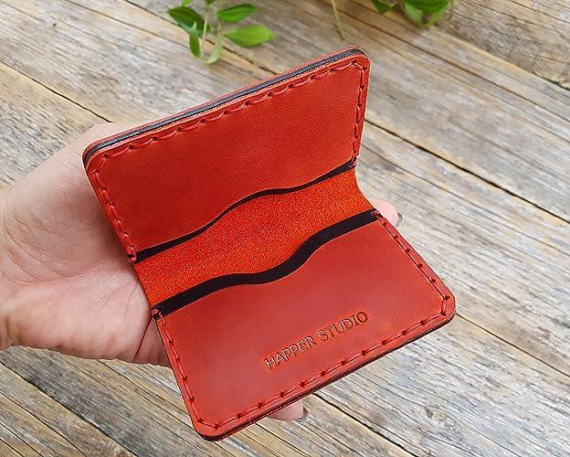 Rojo y negro cartera de piel PERSONALIZADA. Apta para tarjeta de crédito, efectivo o