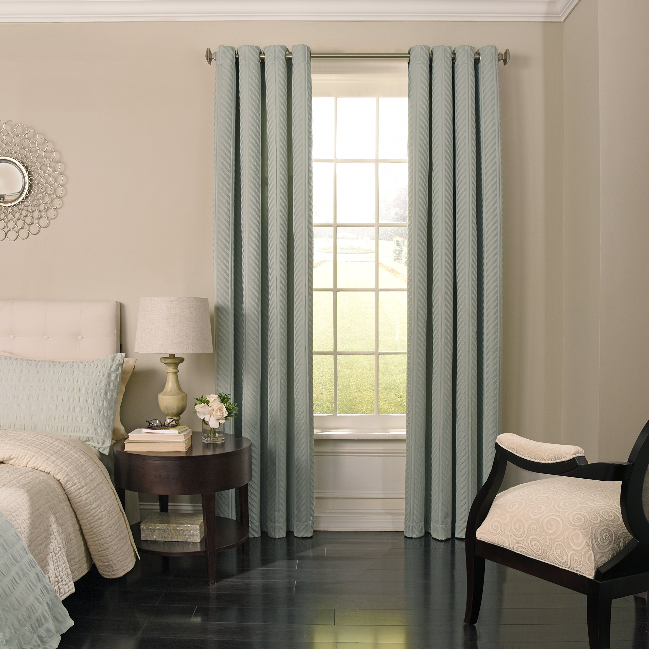 Beautyrest 15776052084SPA Malbrouck 52-inch by 84-Inch Blackout Single Window Curtain Panel, Spa